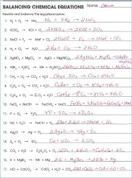 balancing chemical equations worksheet grade 10 or classification chemical reactions worksheet answers chemistry