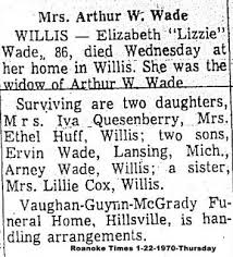 Obituaries Added Since November 23, 2018 Sources: All images were emailed  to BarbR from Rena Worthen for posting on this site. If there is a  date/newspaper stamp on the image, these images were gleaned from  newspapers by Karen (Weddle) Baker. All ...