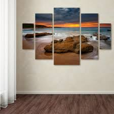 trademark fine art 40 in x 58 in beach at sunset 5  on multi panel canvas wall art set with trademark fine art 40 in x 58 in beach at sunset 5 by lincoln
