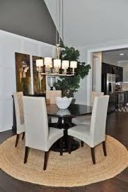 Round rug under dining room table Love this look 3 Dining Room