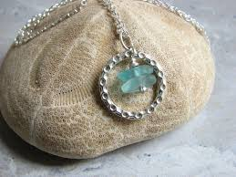 aqua blue sea glass circle necklace with sterling silver 18 inch chain product images of