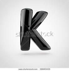 stock photo glossy black paint letter k uppercase d render of bubble twisted font with glint isolated on