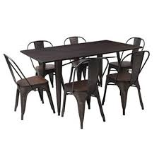 ma 7 piece dining set 1500l 1 table 6 chairs acacia brushed and saw cut moka grey