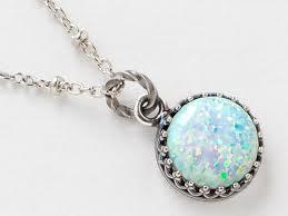 silver opal necklace white pendant australian in