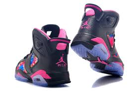 jordan shoes for girls 2017. girls air jordan 6 retro gs black pink leather flower print for sale-3 shoes 2017
