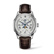 longines master automatic chronograph men s brown leather strap longines master automatic chronograph men s brown leather strap moon phase watch