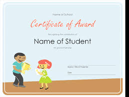 certificates of completion for kids certificate of award elementary students office templates