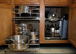 Add Kitchen Cabinet Pot Organizer to Make Your Best Kitchen Hardware :  Charming Wooden Kitchen Cabinet