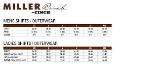 Cinch Jacket Size Chart Size Chart Miller Ranch Cinch Jeans Online Store