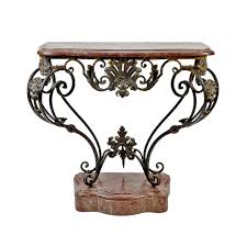 iron console table. French Antique Louis XV Wrought-Iron Console Table With Marble Top And Plinth Iron