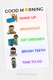 Free Morning Routine Chart Pictures Free Morning Routine Printables For Kids Morning Routine