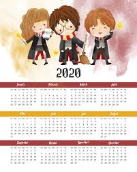 One Sheet Calendar 2020 Free Printable 2020 Harry Potter One Page Calendar The