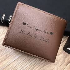 men s genuine leather trifold wallet with zipper pocket personalized photo trifold wallet