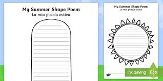 Poetry Templates Summer Shape Poetry Templates English Italian Summer Shape