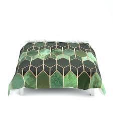 stained glass 5 forest green duvet cover linen set