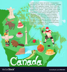 Animated Travel Map Canada Map Travel And Landmark Concept