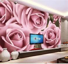 Custom 3d Foto Behang Muurschildering Woonkamer Grote Roze Roze