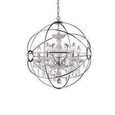 saturn s ring 6 light chrome indoor crystal chandelier with shade