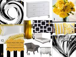Bedroom Mood Board Black White Yellow Modern Black Yellow White Bedroom Color