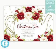 Christmas Tea Party Invitations Christmas Tea Party Invitation Instant Download Holiday Party Invitation Editable Download Lr1091