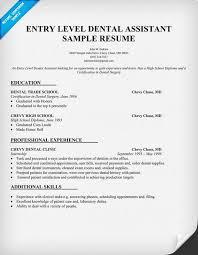 Dental Resume Template 75 Images Entry Level Dental Assistant