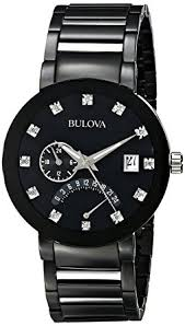 amazon com bulova men s 98d109 diamond accented black stainless bulova men s 98d109 diamond accented black stainless steel watch