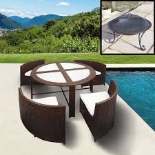 get ations trueping modern wicker elise brown garden patio outdoor dining set with round glass