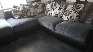 black leather and grey material corner sofa southside glasgow 250 00 s i img com 00 s ntc2wdewmjq