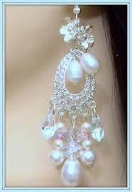 bridal chandelier earrings vintage inspired sterling silver swarovski crystals pear pearls baroque pearls several pearl colors