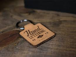 laser etched leather keychain
