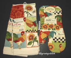 rooster dish towels oven mitt set