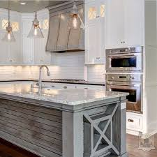 all white kitchen island. grey wood kitchen island trend all white