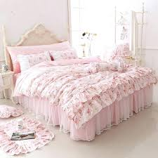cotton fl printed princess bedding set twin king queen size 4 pink girls lace duvet cover