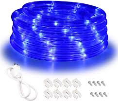 Areful Led Rope Lights Areful Blue Led Lights 16ft Rope Lights Connectable And Flexible Blue Strip Lighting High Brightness 3528 Leds With Clear Pvc Jacket Waterproof