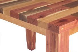 walnut cherry dining: mixed wood table in walnut cedar and cherry