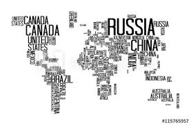 Letter World World Map With Countries Name Text World Map Letter World Map