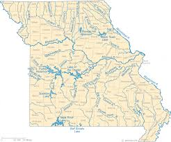 Map Of Missouri Lakes Streams And Rivers