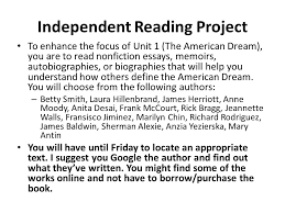 independent reading project to enhance the focus of unit the  independent reading project to enhance the focus of unit 1 the american dream