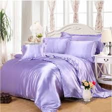 4 6pcs imitation silk bedding sets luxury light purple satin duvet cover queen king bed