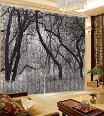 US $69.87 49% OFF|Black and White Winter Forest Landscape Curtains For Bedroom Blackout Curtains 3D Curtain For Window Living room -in Curtains from ...
