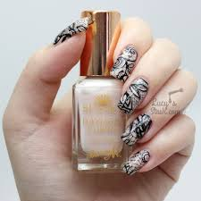 Racy Lacy Nails | Black Stamped Lace Nail Art & Barry M Do It Like ...