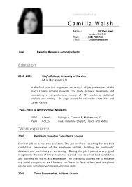 Gallery Of Sample Cv College Student