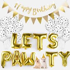 Happy Birthday Signs To Print Legendog Dog Birthday Party Supplies Dog Paw Print Balloons Cat Birthday Hat Happy Birthday Banner Foil Balloons Lets Pawty Letters Balloons
