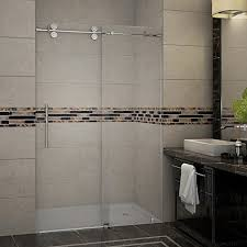 aston langham 44 to 48 x 75 completely frameless sliding shower door polished chrome