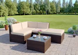 5 piece faro modular rattan corner sofa set in brown includes free protective cover