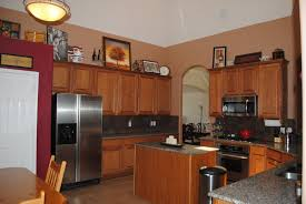 Wall Painting For Kitchen Red Accent Wall In Kitchen With Brown Cabinets Google Search