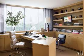 home office decor brown simple. Office : Chic Home Decor With Brown Wood Solid Computer Desk And Comfortable Leather Chair Also Large Glass Window Plus Wall Book Shelves Simple F