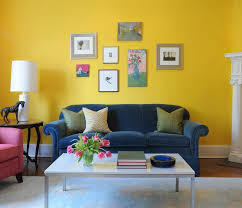 Sleek Blue and Yellow Living Room