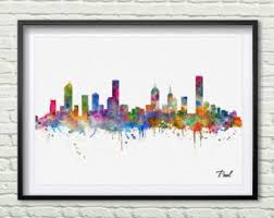 on wall art painting melbourne with melbourne skyline etsy