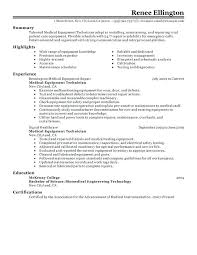 Maintenance Technician Resume Amazing 1122 Resume Sample For Technician Medical Equipment Technician Resume